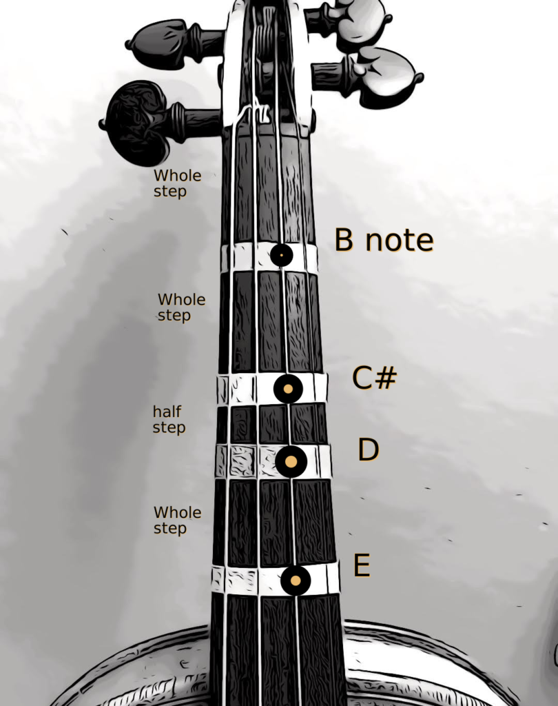 violin fingerboard with notes