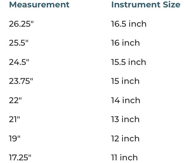 Viola measurements